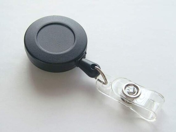 5 Blank Black ID Badge Reels...Retractable Cord...Belt Clip.... Great For Covered Button / Bottle Cap....and more K66-5