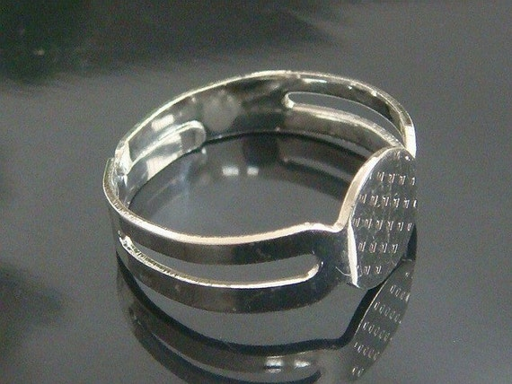 10 Shinny Silver Plated Adjustable Ring Blank Glue On Pad 8mm