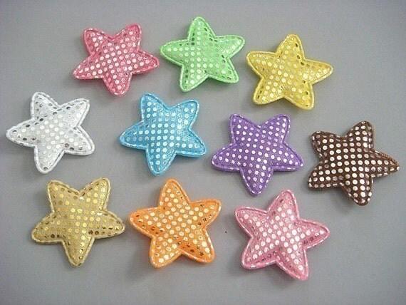 30 Padded Shiny Dot Star Appliques 10 Color EA63