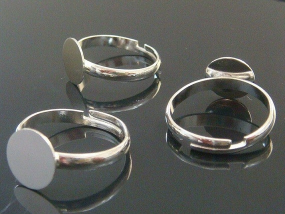 10 Shinny Silver Plated Adjustable Ring Blank Glue On Pad 10mm.......M7