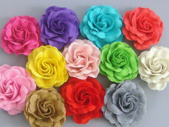 12 Large Handmade Pop Up Felt Flower Appliques... 3 inch...4 Layers...12 Colors...EA173