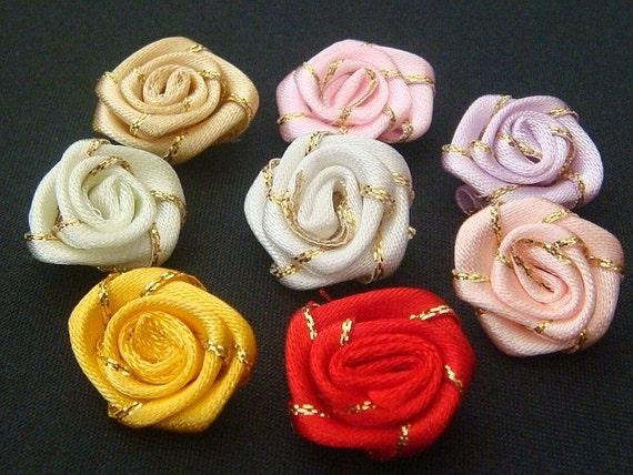40 Satin Gold Thread Rose Appliques Craft 8 Color EA91