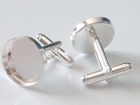 10 Pairs (20pcs) Shiny Silver Plated Cuff Links Cufflink Blanks with 17mm Glue Pad EH67