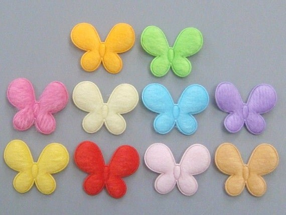 30 Padded Furry Butterfly Appliques Sewing Craft EA181