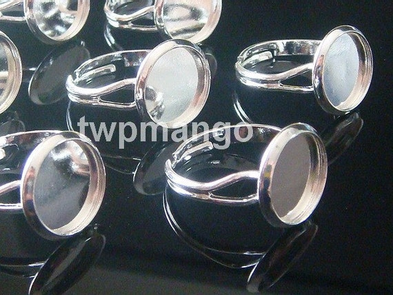 10 Shiny Silver Plated Adjustable Ring Blank...RingBlanks...Glue Tray... Bezel...12mm...T5