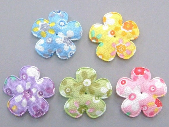 20 Padded Floral Print Flower Appliques Craft EA185