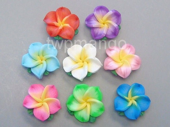 40pcs Handmade Polymer Clay Fimo Flowers...Hawaii...20mm...8 Colors...F16-40pc