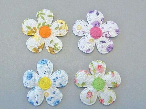 20 Padded Floral Print Flower Appliques EA211