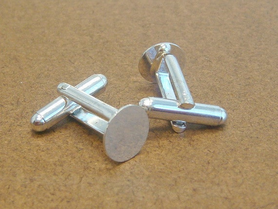 10 Pairs (20pcs) Sterling Silver Plated Cuff Links Cufflink Blanks with 10mm Glue Pad H76-20pc