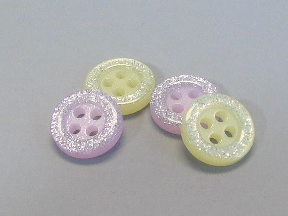 Lot of 50 Glitter Round Buttons Sewing Craft EB95