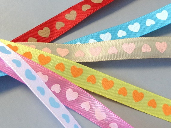 30 yards 3/8 inch Heart Satin Ribbon...Craft... Hair Bow...R31-36