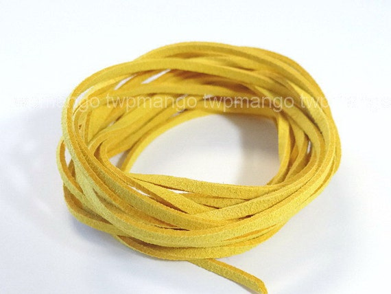 3 Yards Faux Suede Cord Leather Lace.......Mustard.......3mm x 1mm......N45-5