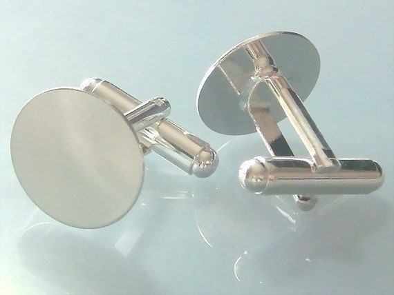 10 Pairs (20pcs) Shiny Silver Plated Cuff Links Cufflink Blank with 15mm Glue Pad EH36