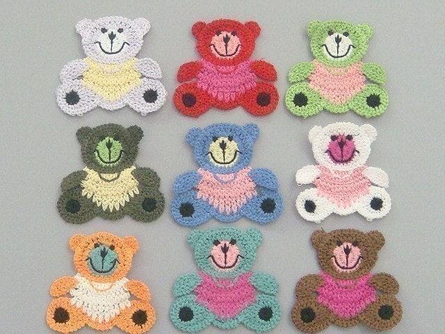 large crochet teddy bear appliques 9 colors ea132