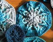 Blue Wheels-Vintage Crocheted Circle or Octagon Motifs 8 plus 9 and Extra Yarn Jump Start Your Next Afghan