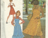 Vintage 70's Sundress or Jumper for Women Sewing Pattern Size 14 Simplicity 6926