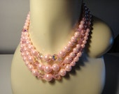 Laguna 3 Strand PINK Beaded Crystal Necklace