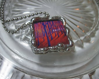 Purple Dreams Trees Pendant - 2 sided Glass square Stained Glass Pendant with chain