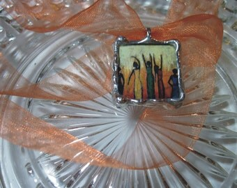 Honoring the Spirit Pendant - 2 sided Glass square Stained Glass Pendant with organdy