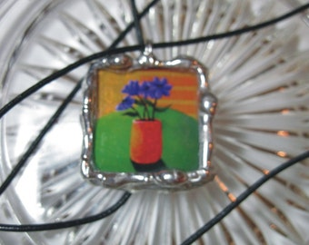 Purple Flowers Pendant - 2 sided Glass square Stained Glass Pendant with leather cord