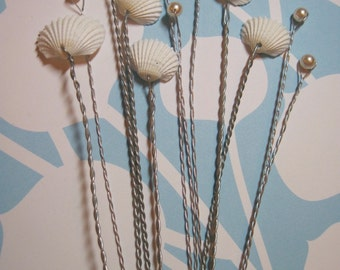 Dainty White Ark Seashells and Pearls for Wedding Bouquets and Centerpieces