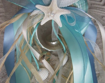 Aqua and Jade Teal Heart Ring Bearer Pillow for Beach Weddings Aquamarine