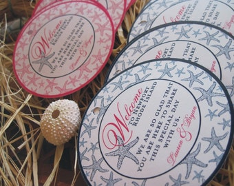 Custom Wedding Tags 25 ~ 4 inch Round Welcome tags for Destination and Wedding gifts Customizable
