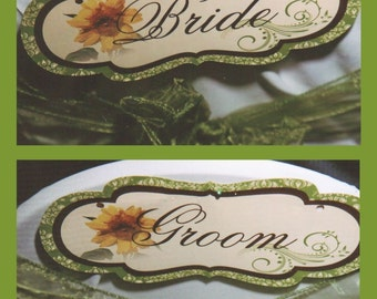 Custom Sunflower Bride and Groom Chair Signs or Restrooms or Wedding Signs