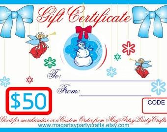 50 Dollar Gift Card for Christmas and Hanukkah Happy Holidays
