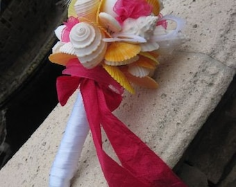 Fuschia Pink and Tangerine Seashell Bridal Bouquet for Beach and Destination Weddings