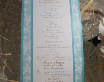 Tiff Blue Starfish Wedding Itinerary Cards