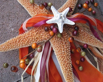 Fall Wedding Shimmery Starfish and Organza Ring Bearers Pillow