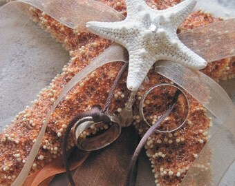 Shimmery Starfish and Organza Ring Bearers Pillow in chocolate and tangerine