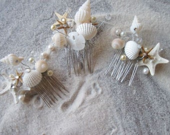 Natural Seashell and Starfish Hair Comb Headpiece with Pearls Crystals for Beach Weddings