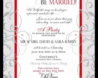 Formal Wedding Reception Invitation Customizable with your text