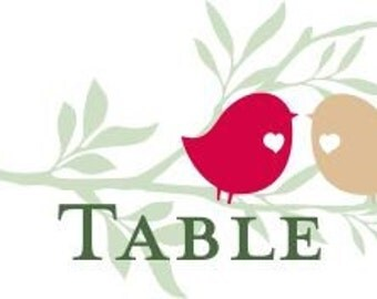 Wedding Table Numbers Love Birds Customizable