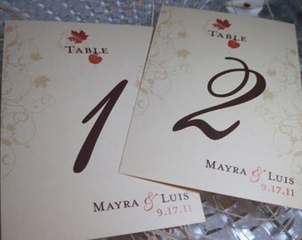 Elegant Scroll Fall Leaves Table Numbers Customizable 5x7 1-10 Flat