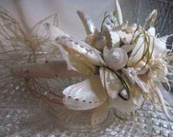 Bridal Bouquet with Pewter and Ivory Abalone Seashells and  Starfish