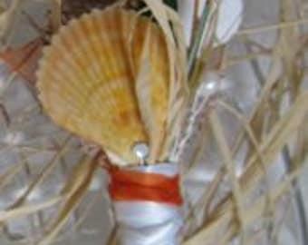 Tropical Orange Scallop Shell and Sea Fan Boutonniere