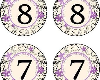 Flip Flop Stickers - Flip Flip Size Stickers - 1.5 inch Stickers - Violet Scroll for Beach Weddings & Showers - 25 stickers
