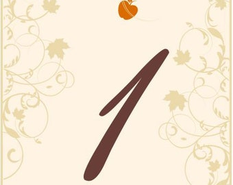 Wine Bottle Table Number Labels Autumn for Weddings and Special occasions Customizable Size, Colors