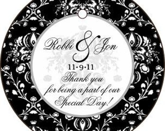 50 Black and White Damask 2 inch Round Thank you tags Customizable for Weddings