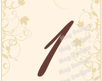Harvest Fall Scroll Table Numbers Customizable 4x6 1-20 Tented with Leaves