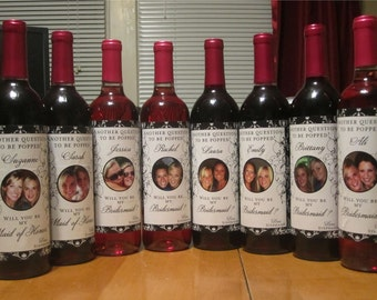 Personalized Bridesmaid Photo Wine Labels