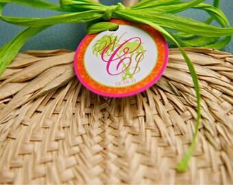 Wedding Favor Fan Tags -Tropical Palm Tree 2 inch Round Beach Wedding Thank you tags