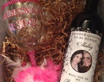 Personalize Bridal Party Gifts - Custom Damask Wine Labels for each member of your Bridal Party
