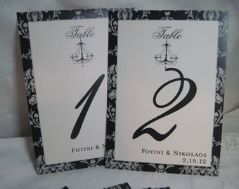 Personalized Wedding Table Numbers Damask Chandelier Table Decorations- Customizable 5x7 1-15 Flat