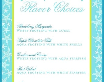 CUSTOMIZABLE Wedding Reception Cupcake Flavor Sign in YOUR colors