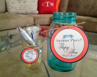 Mason Jar Tags - Wedding Tags - Rustic Wedding Tags - 25 2 inch Tags - Country Wedding Tags - Mason Jar - Customizable
