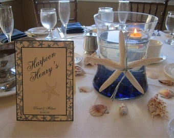 Starfish Table Numbers Customizable with Names instead of numbers Tented